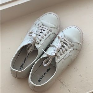 Superga genuine leather sneakers in ash white